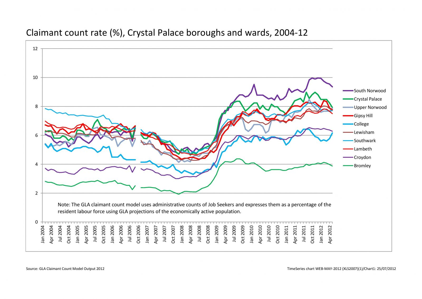 Unemployment rates in Crystal Palace 2004-2012‏