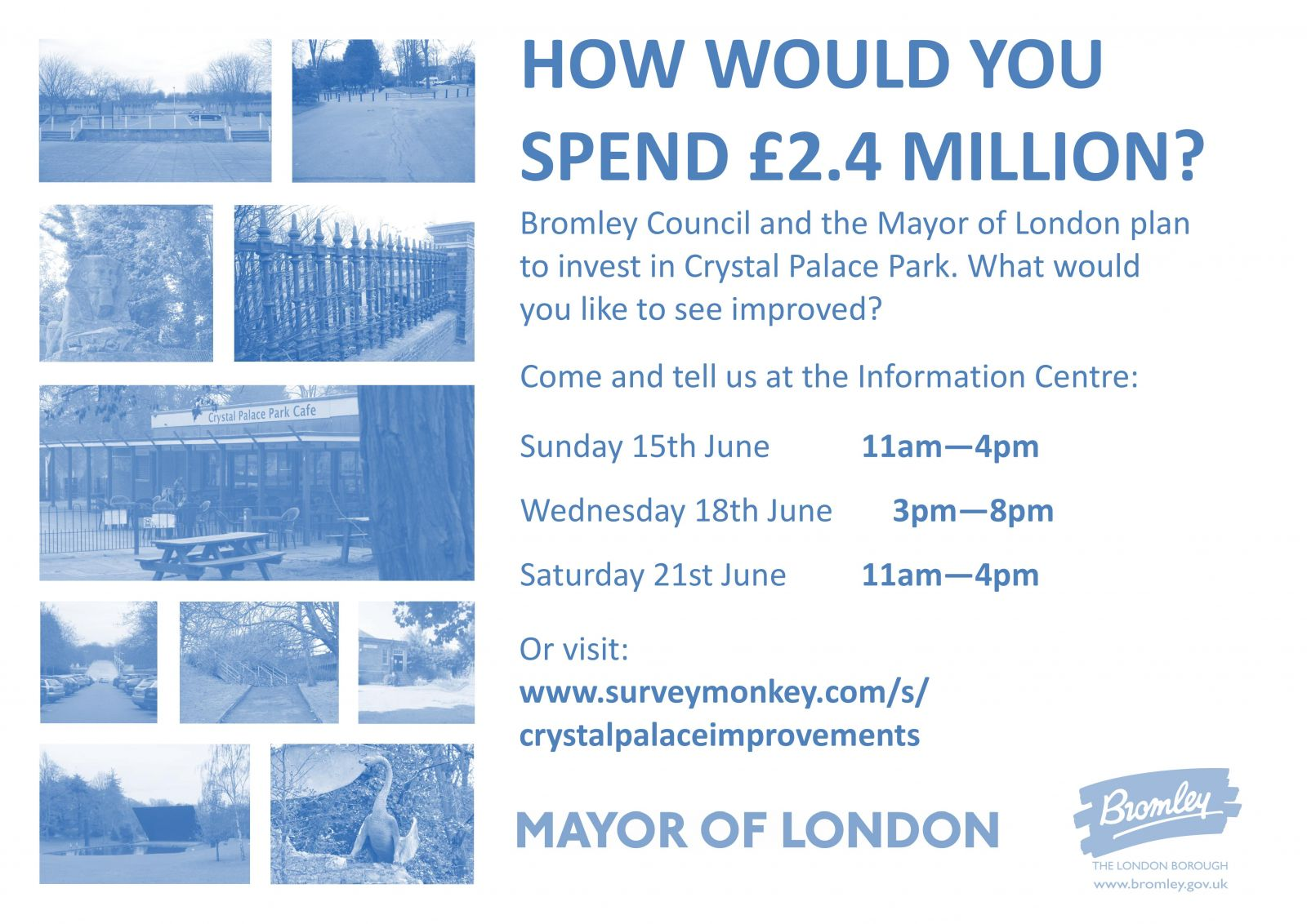 Consultation poster for Interim Projects in the park