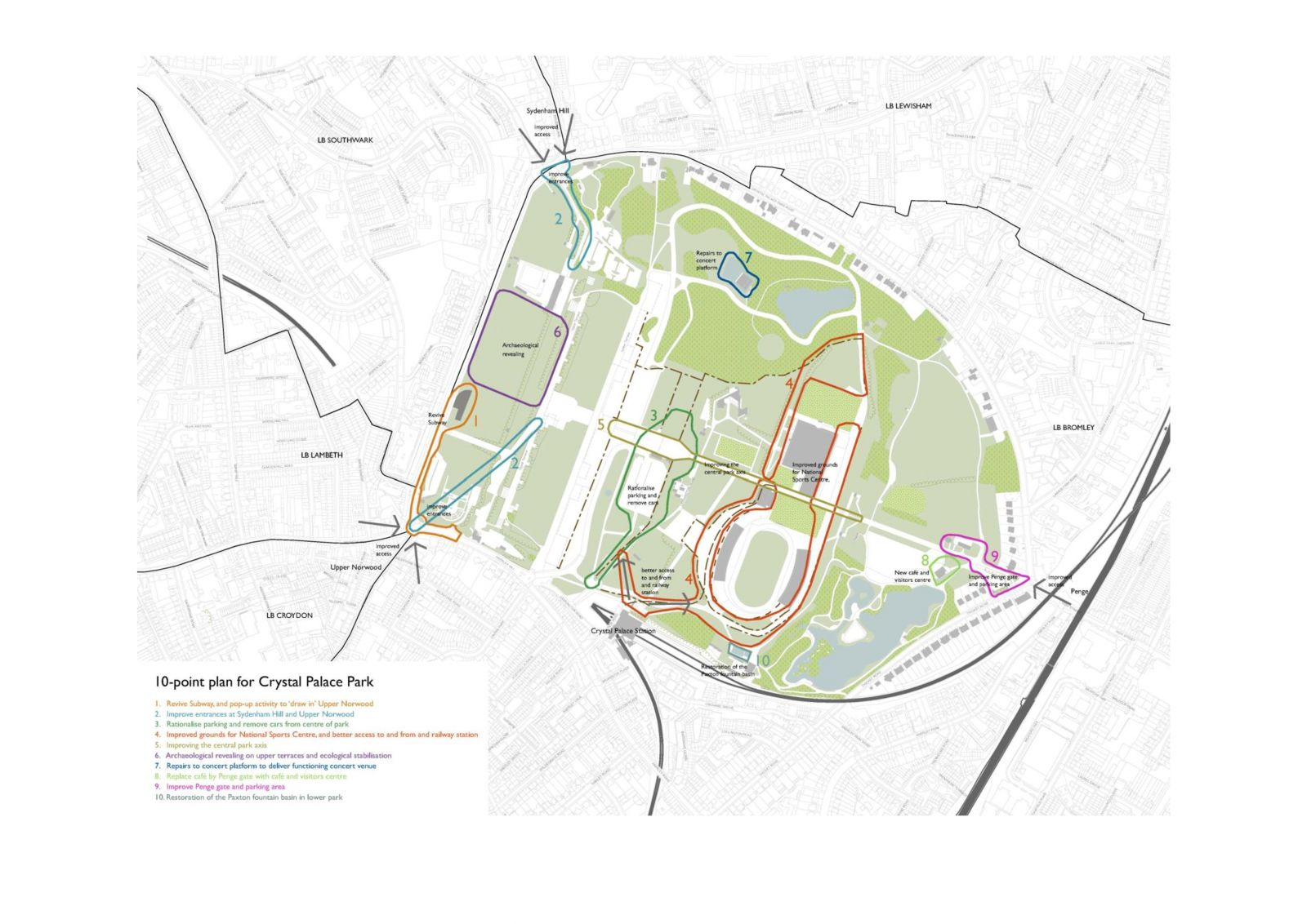 GLA 10 point plan for Crystal Palace Park